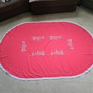 """Vintage Hand Embroidered Oval Tablecloth Christmas Winter Snow Church 87""""X56"""""""